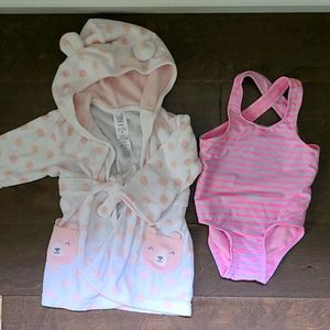 Toddler Girl Robe and Bathing Suit